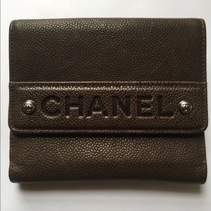CHANEL Caviar Ligne French Wallet Brown